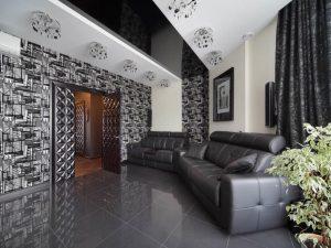 Черно-белый натяжной потолок