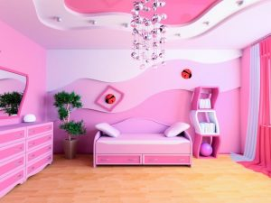 Натяжной потолок в спальню для девочек