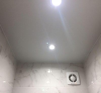 Натяжной потолок в туалете